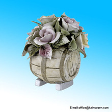 Porcelain Figurine Flower Bouquet on Wine Barrel with Colorful Roses
