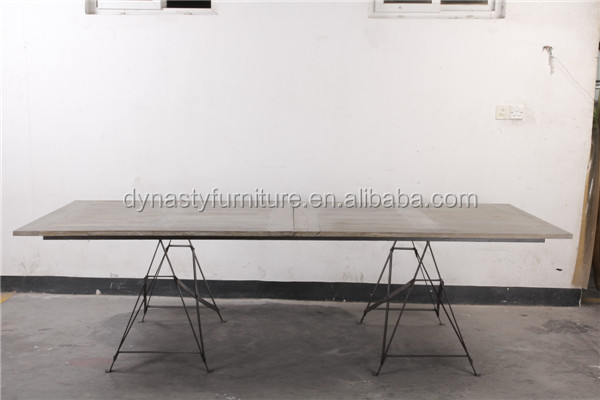 industrial furniture long recycled wooden dining <strong>table</strong> with metal thin legs