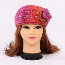 Hot selling lady handmade knitted flower crochet headband