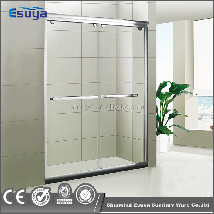 Aluminum alloy frame portable shower screen double sliding door with 304 stainless steel hardware