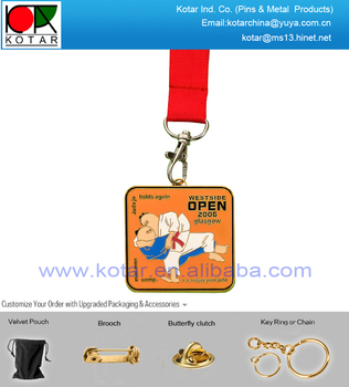 Custom high quality gold plating judojo medal with new enamel