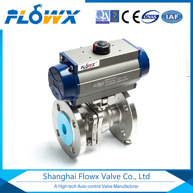 High quality floating 2 piece flanged pneumatic ball valve with lowest price
