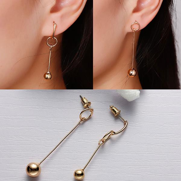 New Fashion Earrings Ear Studs Circle Ring Gold Plated W/ Stoppers 43mm x 8mm