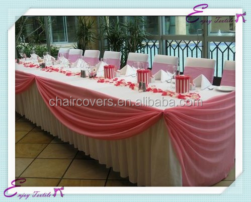 YHK#28 swag table skirt - polyester banquet wedding wholesale chair cover sash table cloth skirt linen
