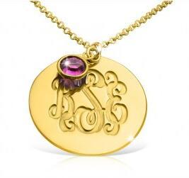 Birthstone Charm Monogram Necklace in 18k Gold Plated.jpg