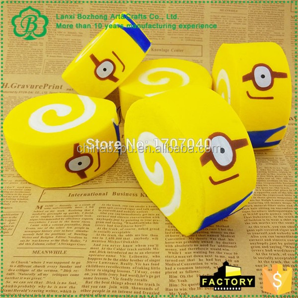 Jumbo 10CM Squishy Despicable Me Minions Cake Roll Soft Key Chains Bread Scented Cellphone