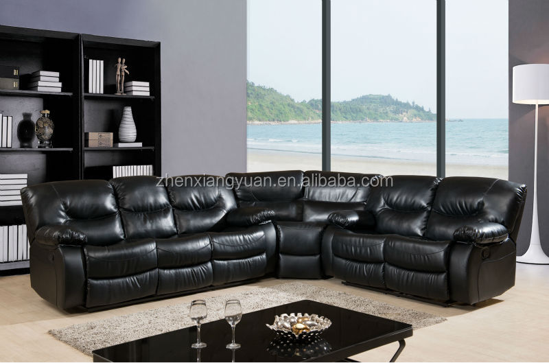 2016 living room furniture corner bonded leather sofa reclining
