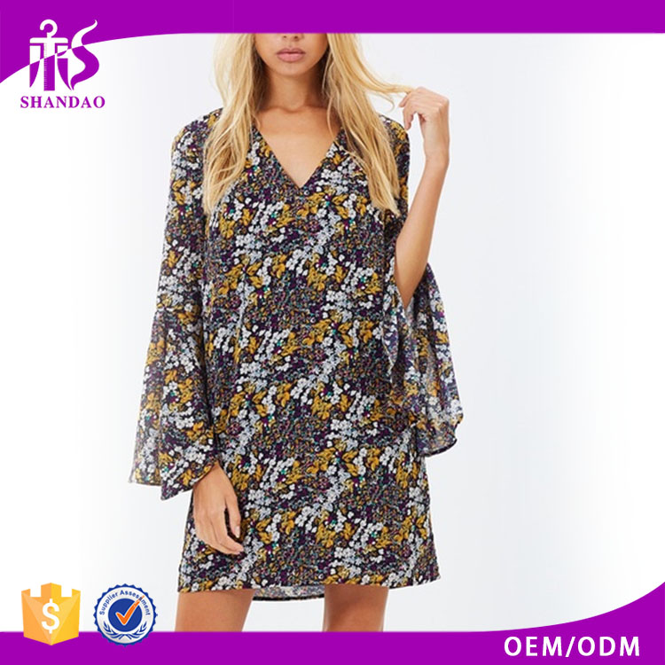 2016 Guangzhou Shandao Factory Spring Stylish Casual Bell Sleeve V-neck Short Indonesia Kaftan Dress