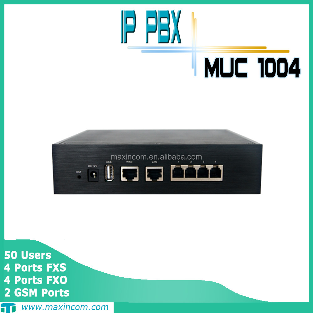 Intercom pbx system 4 FXO/FXS/GSM ports for 50 users using voip pbx