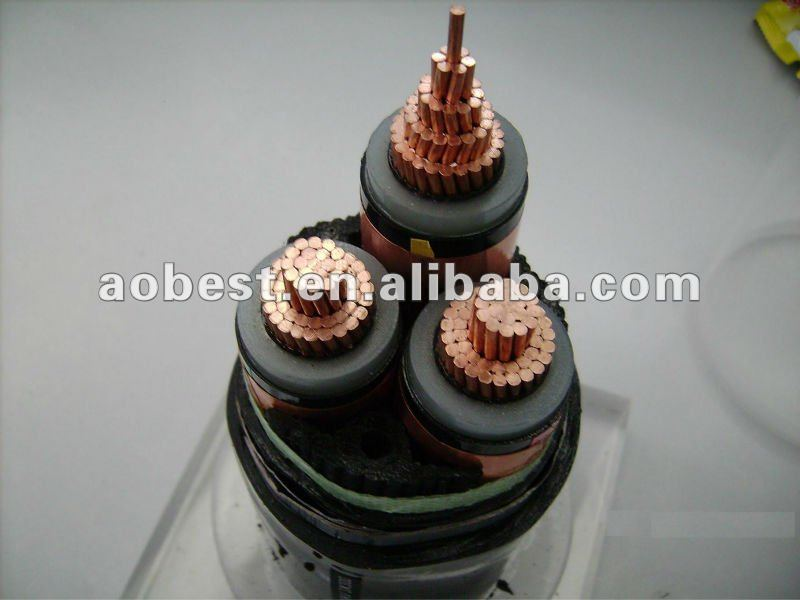 China high quality high voltage 6KV 3 core Copper conductor steel wire armored power cable