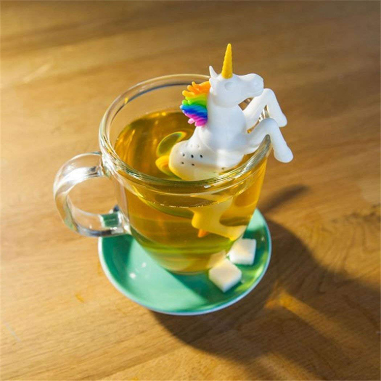 New Design Gift For Tea Lovers White and Rainbow Unicorn Silicone Tea Infuser