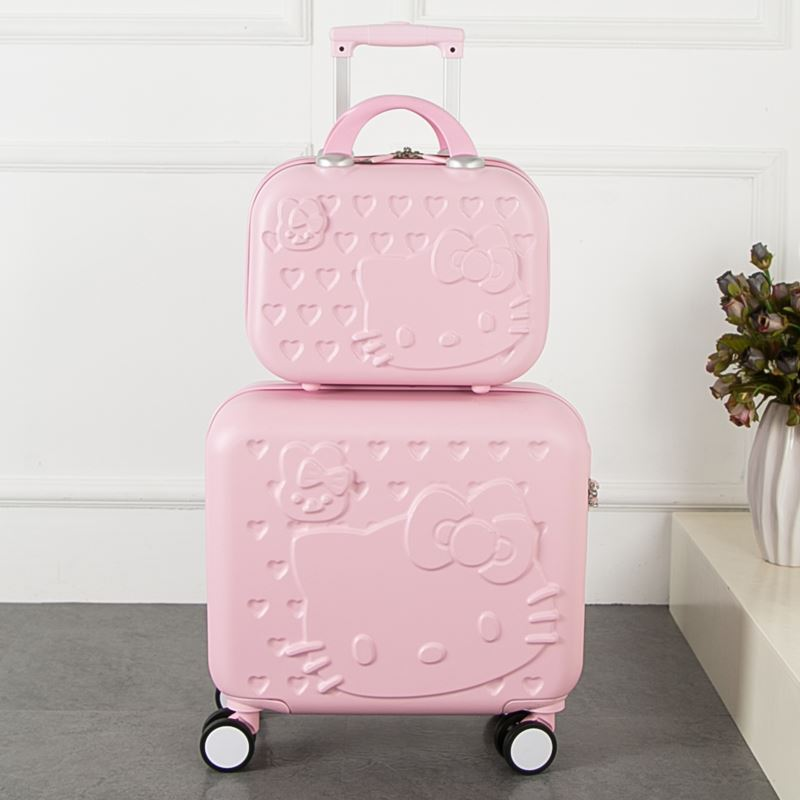 2PCS/SET Lovely hello Kitty 16 inches girl students trolley case 14inch child cartoon Travel luggage suitcase Boarding bo gift