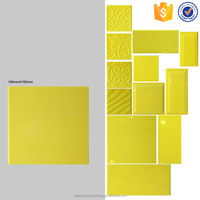 100x100 pure yellow ceramic tile, glossy glazed interior bathroom wall tiles