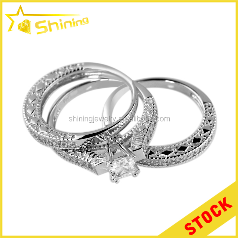 wholesale price 925 sterling silver women three ring sets zirconia jewelry