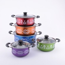 Best selling 10pcs Induction Stainless Steel Colorful cooking pot/Cookware Set
