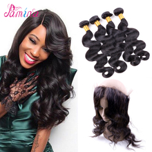 Indian Virgin Hair Human Hair Supplier Body Wave 360 Lace Frontal Closure With Hair Bundles Deals( 16 18 20 + CL 14 )