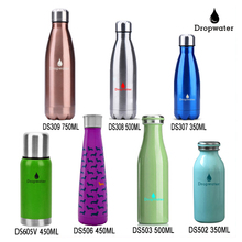 Double wall bpa free colored stainless steel sport cold water bottles with metal lid/custom cartoon water bottles insulated
