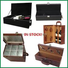1 bottle,2 bottle,6 bottle stock Pu leather cover wood wine gift box