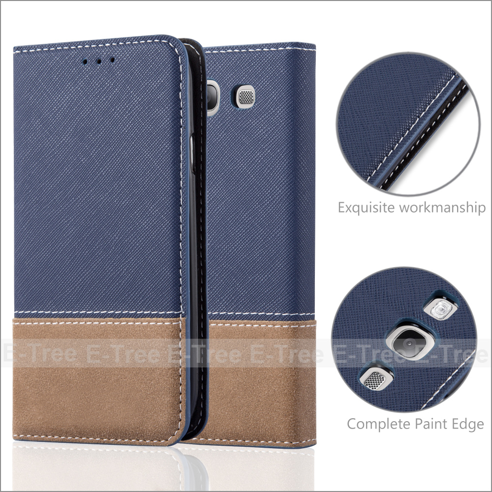 Invisible Magnet Jean Fabric Wallet Phone Case Cover With Card Holders for Samsung Galaxy S3