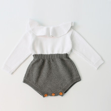 P0034 New design crochet baby romper Doll Collar unique baby girl romper