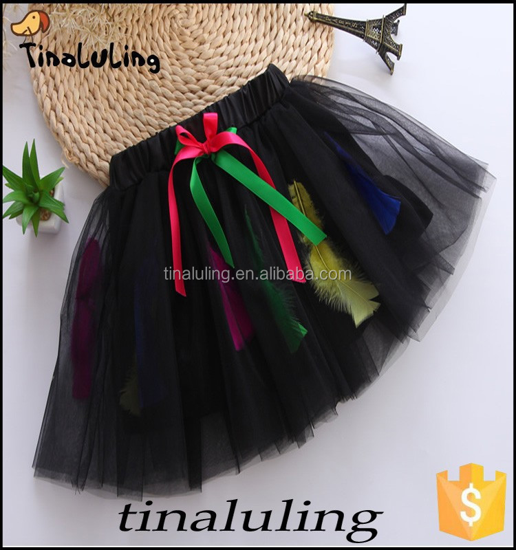 latest 2015 girls black ballet tutus, children ostrich feather skirts pettiskirts