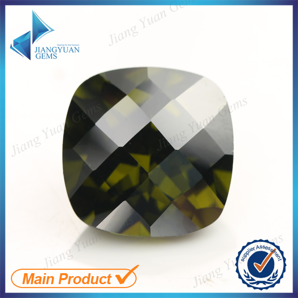 Olive 12mm Checkerboard Cut Cushion Culet Back Cubic Zirconia Stone