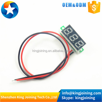 KJ101 3 color Led 0.28 inch Mini 2 Wire Dc Voltmeter 2.5~30v Digital Voltmeter Display Gauge LED Voltage Detector
