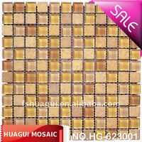 Natural indus gold mix crystal glass Mosaic/Mosaico room wall tiles manufacturer/factory in Foshan, China