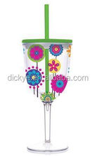 Double wall Drink Cup Glass with Lid & Curly Crazy Straw