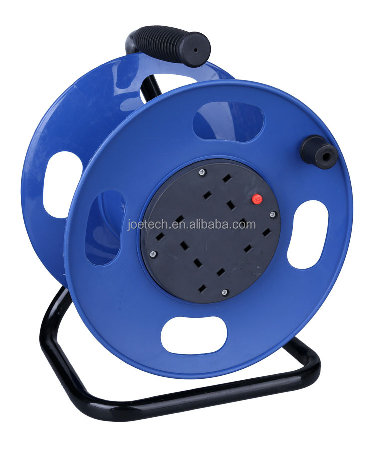 Cable Reels UK extension cord cable reels 3-outlet 13A 250V BS plug VDE cable H05VV-F 3G1.5mm2 25m/50m