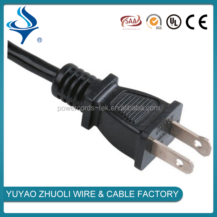 10A 13A 15A PVC Insulation 2pin ac power cord for USA