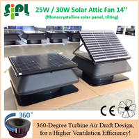 30W axial flow type roof standing best solar powered attic gable fan