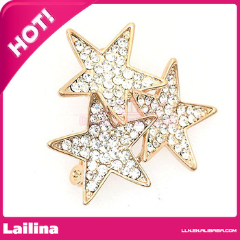 Wholesales 45mm Crystal Twinkle Twinkle Little Star Brooch Pins