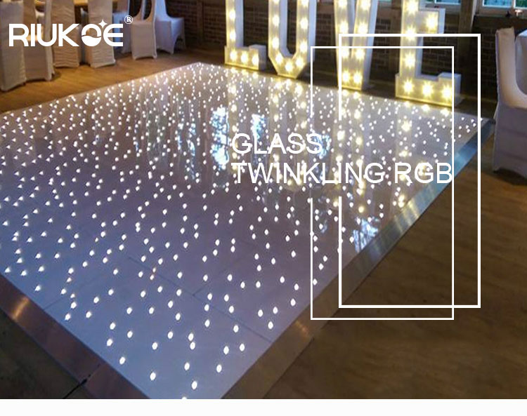 High density easy assembly portable pure Acrylic Starlit white/black dance floor