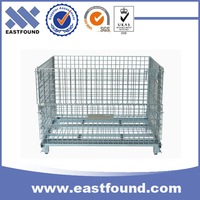 Welded storage industrial heavy duty collapsible wire steel container