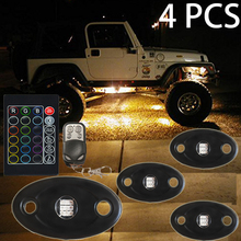 RGB LED Rock Light Kits with Wireless Remote Control for Car Truck ATV SUV Jeep Boat Motorcycle Waterproof Shockproof Neon light
