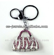 AAA quality Purse Bling Design Chrome Metal w/ Crystals Key Chain - Pink & Rose