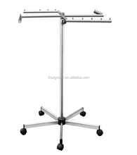 Clothing shop garment hanging display rail on castors
