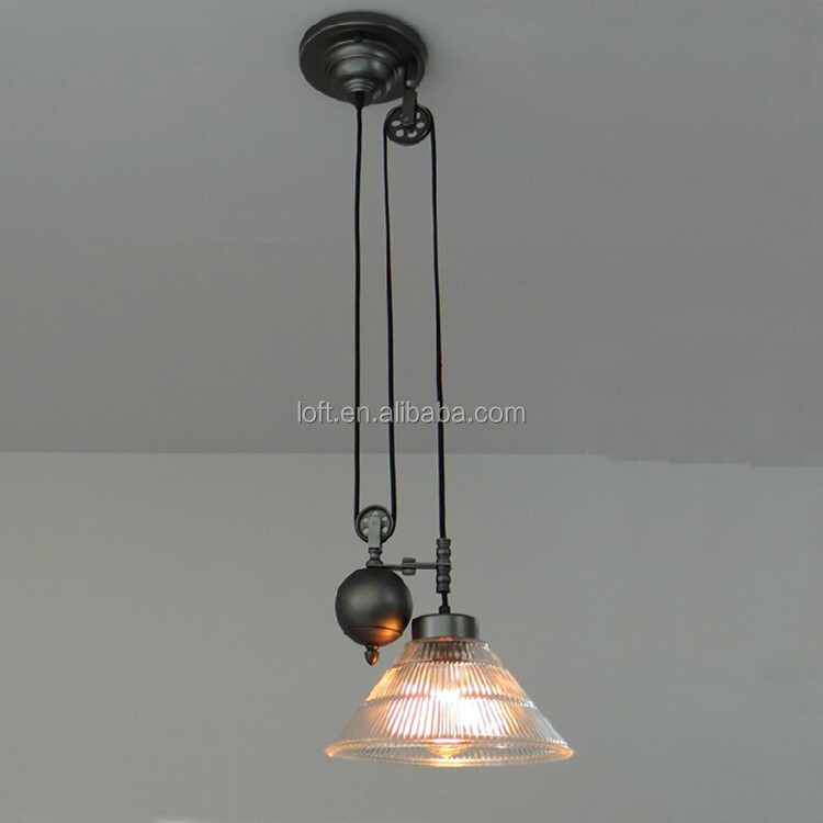 Gun black plating vintage clear glass adjustable pulley pendant lamp for home/coffee shop