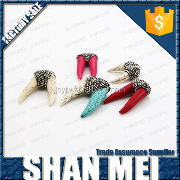 new design double horn shape gemstone pendant yiwu manufacture