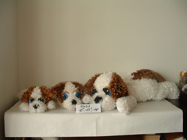 "14""/18""/27"" promotional beautiful white/brown lying dog animal toy on its stomach"