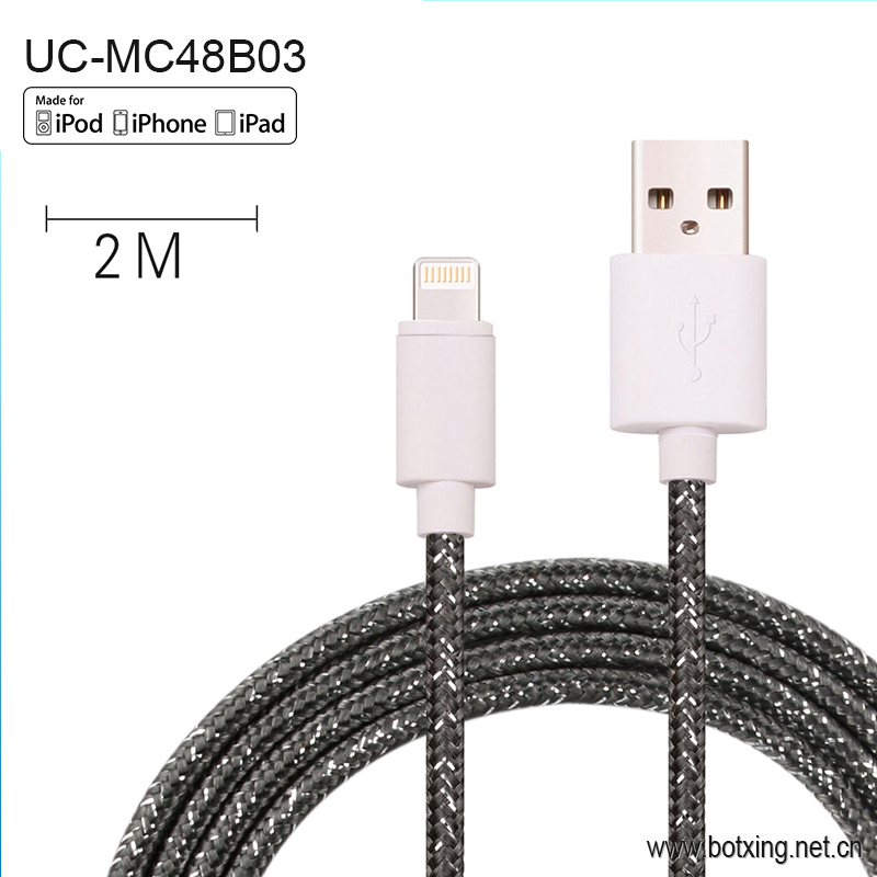 MFI Certified strong cotton braided custom usb <strong>cable</strong> for iPad