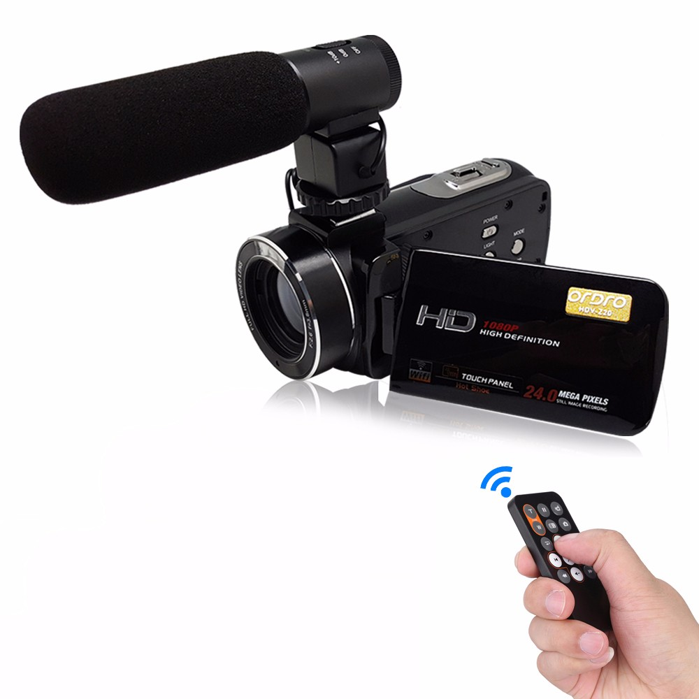 "Super HDV-Z20 24Mp Wifi <strong>1080P</strong> Full HD Digital Video Camera Camcorder with Remote External Wide Angle Lens and Hot Shoe 3"" Touch"