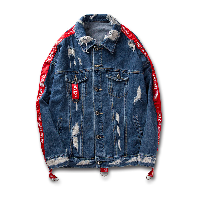 Top Fashion Blue Jeans Jacket For Men,Distressed Loose Denim Jacket With <strong>Fabric</strong> Chains