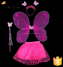 new products Hot pink glitter fairy tutu wings butterfly wings cheap set