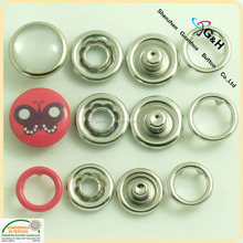 metal material brass cap prong ring snap button