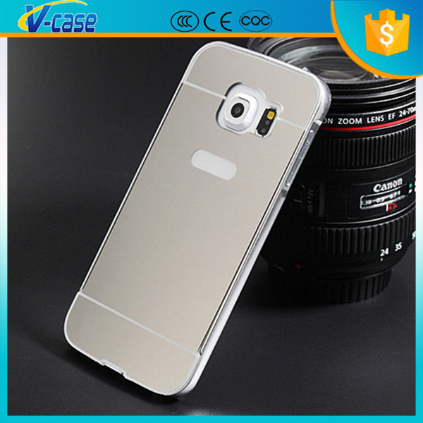 Newest luxury mirror metal hard back cover bumper case for samsung galaxy core prime