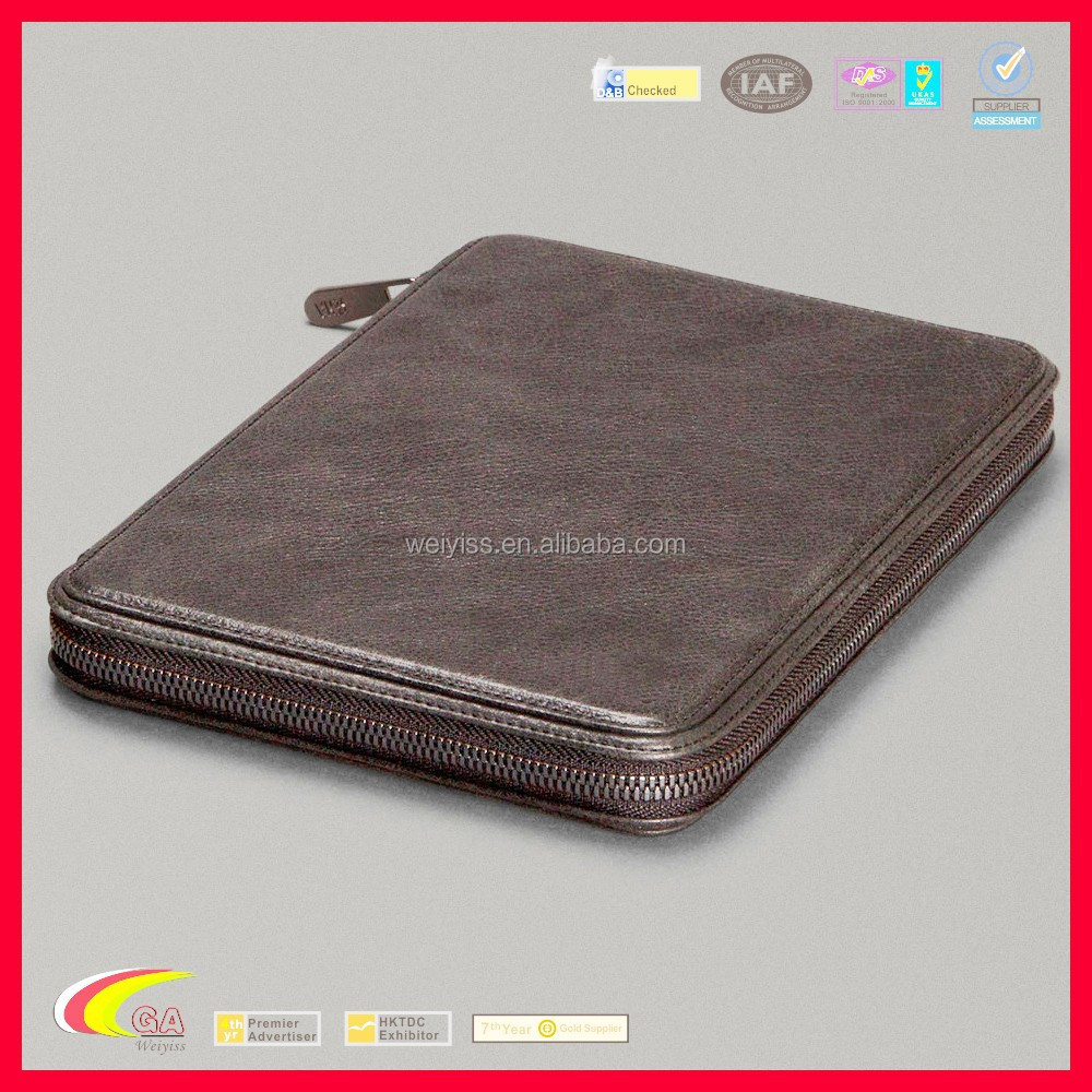 Customized New Design Folio Leather Case for iPad Mini, Genuine Leather Cover Case for iPad with Zipper Around