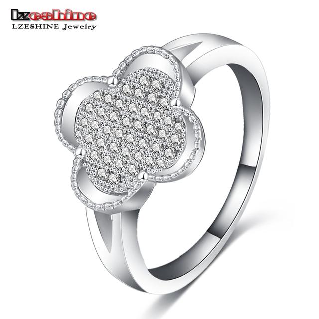 LZESHINE Silvery Micro Inlay Diamond Four Leaf Clover Flower Passion Ring CRI0130