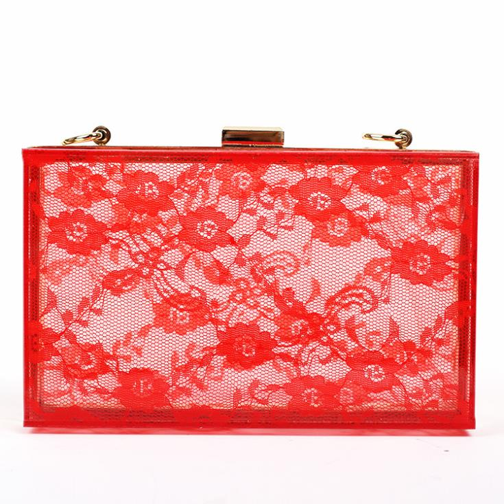 mini lace acrylic trunk hard case clutch bag flap printed day clutch bag women's elegance party bag evening bag wedding tote